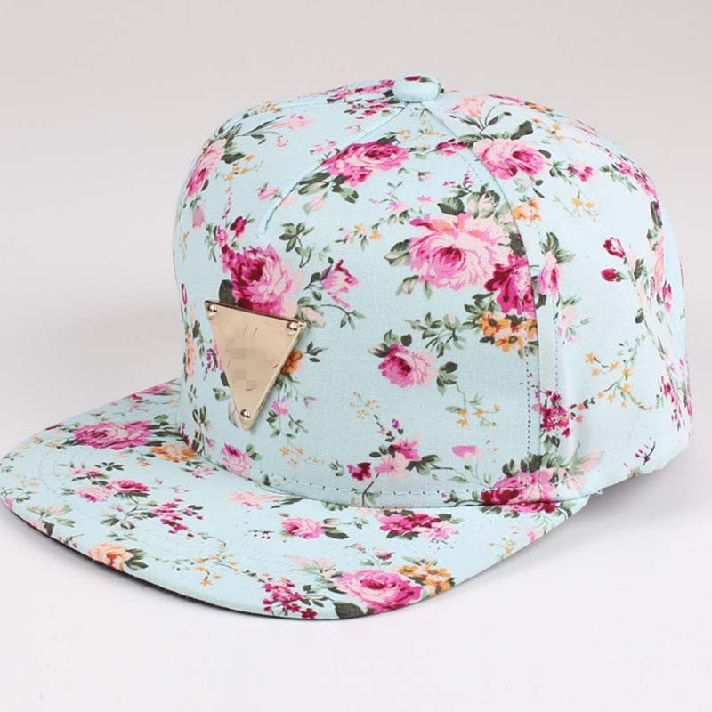 a64ae339bff ... Floral Print Baseball Cap Flat Along Flowers Hip Hop Caps Snapback  Wholesale Fashion Women Leisure Metal ...