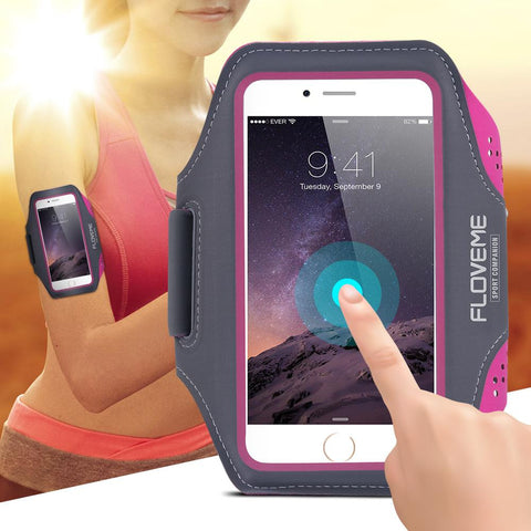 "FLOVEME 5.5"" Men Women Sport Armband For iPhone 6 6S Plus Clear Touch Screen Waterproof Sport Arm Band For Samsung Galaxy S6 S7"