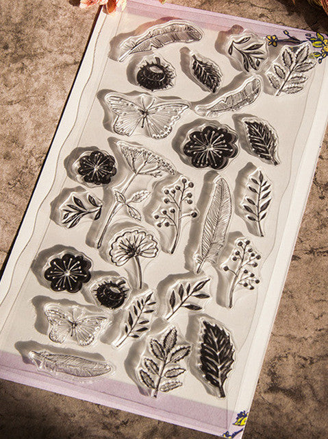 flowers silicone clear stamp w leaf plant scrapbooking seal handmade diy notebook roller
