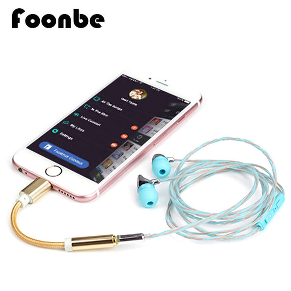 FOONBE For iPhone 7 7 Plus Headphones AUX Connector jack Adapter 12cm Cable Male to 3.5mm Female Earphone Headset Converter Cord