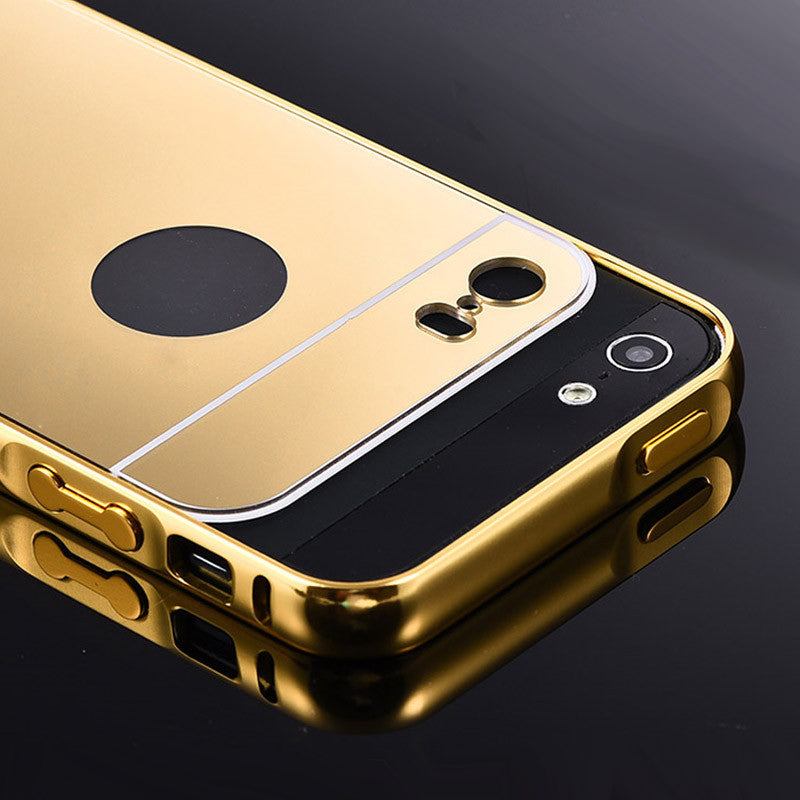 new concept 9a3a9 4ff57 For Apple iPhone 5S 5 iPhone5S Gold Color Matel Frame Mirror Back Plate  Luxury Case New Brand Phone Bag Cover