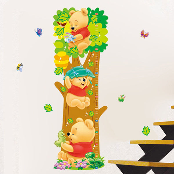 For Kids room wall stickers Lovely Bear butterflies Kids Growth Chart Height Tower 75-140cm Free shipping