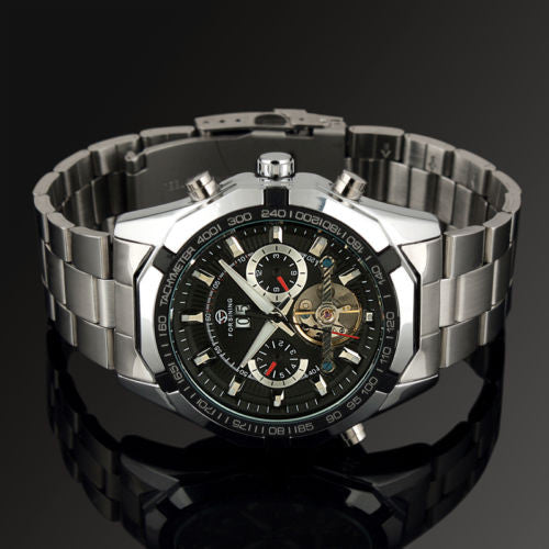 Forsining Leather Automatic Self-wind Stainless Steel Mechanical Wristwatches Men 340