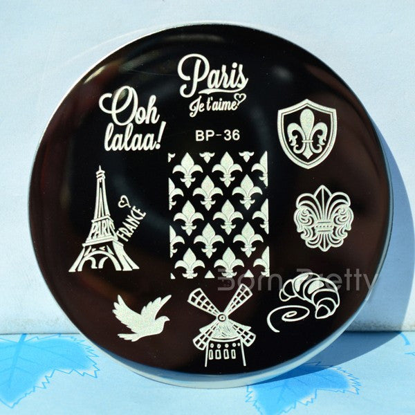 France Theme Nail Stamping Plates BORN PRETTY BP36 Nail Art Template Image Plate Manicure Set