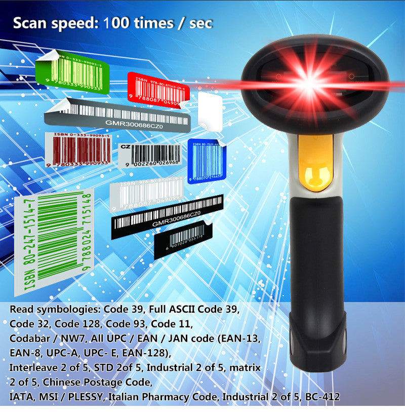Free Bracket holder+CT10 Wireless Bluetooth 1D Barcode Scanner Barcode  reader W Auto Induction for iOS Android windows