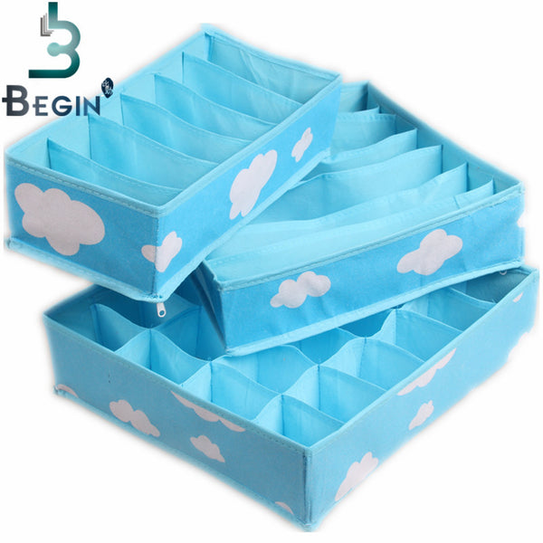 Free Shipping 2016 Blue Various Grid Pattern Fashion Convenient Folding Storage Box Bag for Bra Underwear Necktie Sock Organizer