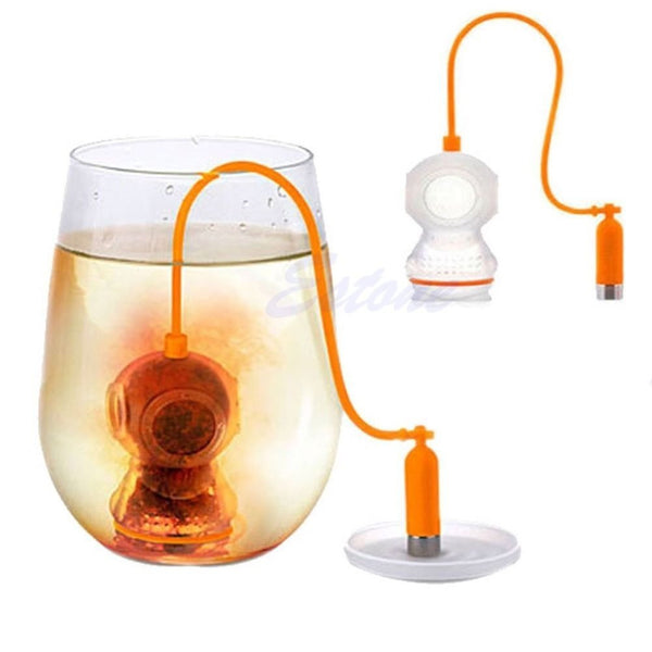 Free shipping Deep Tea Diver Infuser Scuba Diving Herbal Loose Leaf Silicone Filter Strainer