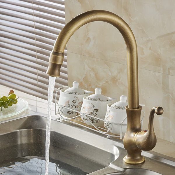 Free Shipping Kitchen taps cozinha faucet Antique Brass Swivel Spout Kitchen Faucet Single Handle Vessel Sink Mixer Tap HJ-6715F