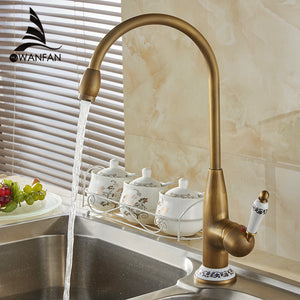 Free shipping new style antique brass finish faucet kitchen sink basin  faucets mixer tap with ceramic hot and cold AST4116F