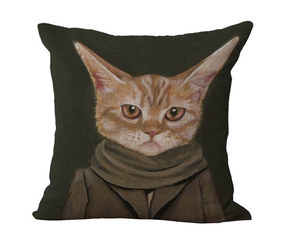 Free Shipping Wholesale 100% New Cotton Linen Modern Cartoon Cats Cushion Pillow on sofa for home decoration