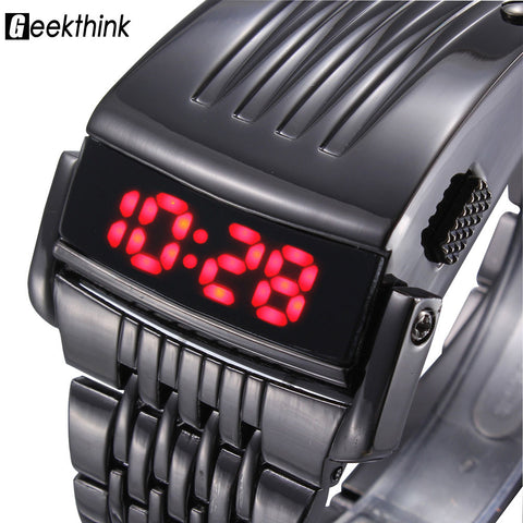 Geekthink Digital Stainless Steel Digital Wristwatches Men L6001