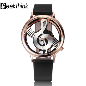 Geekthink Leather Quartz Stainless Steel Quartz Wristwatches Women Ww0085