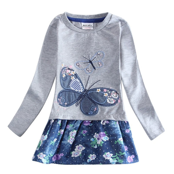 girl dress casual princess dress girls clothes nova kids dresses for girls embroidery flowers and dots children clothing H6328