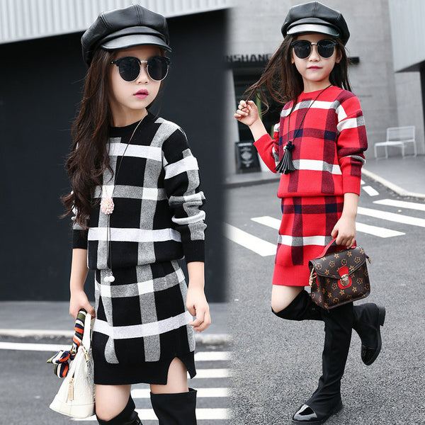 Girls Clothing sets 2017 Autumn Winter Girls Clothes Plaid Knitwear Sweater Skirt Children Clothing Set Kids Clothes Tracksuit
