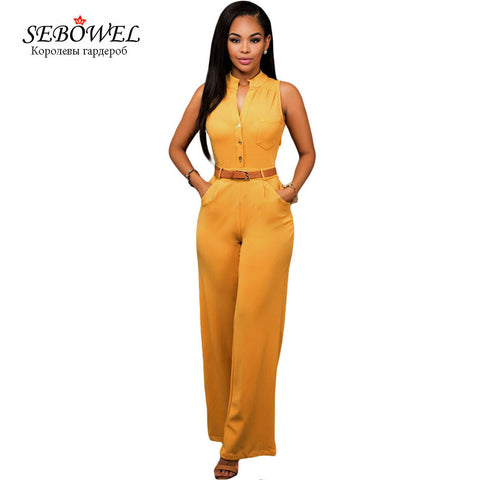 Gold Plus Size Rompers Women Jumpsuit Long Pant Casual Elegant Overalls Jumpsuit For Women 2016 Summer Sleeveless Loose Jumpsuit