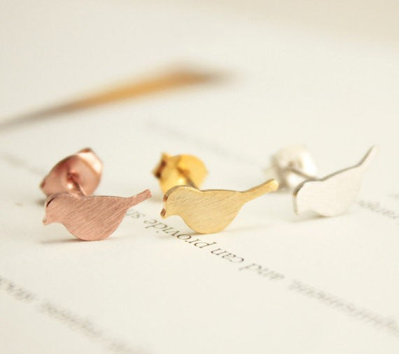 Gold Silver and Rose Gold Plated New Tiny Cute Bird Stud Earrings for Women EY-E090
