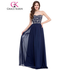 Grace Karin 2016 Sweetheart Elegant Long Prom Dresses Black Green Navy Blue Red Formal Gown Beaded Sequin Special Occasion Dress