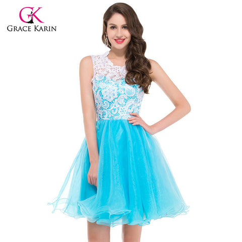 Grace Karin Cheap Blue Black Yellow Lace Short Puffy Prom Dresses 2017 High Neck Ball Gowns Party Homecoming Dresses 6123