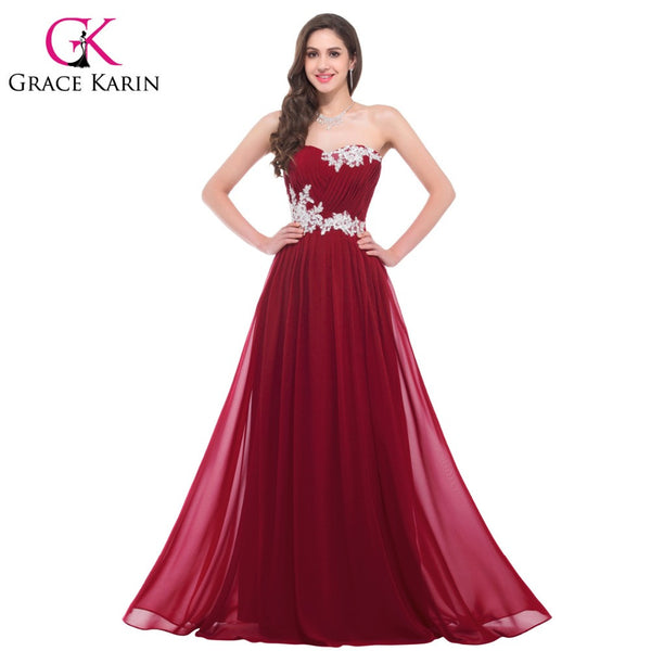 Grace Karin Long Bridesmaid Dresses 2016 Beading Sequins Floor Length Sweetheart Green Red Pink Blue Robe De Soiree Prom Dress