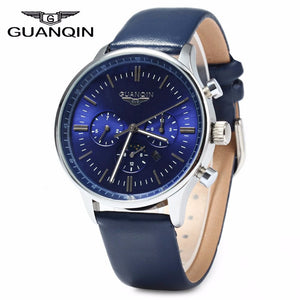 Guanqin Leather Quartz Stainless Steel Quartz Wristwatches Men 1571482