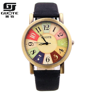 Guote Leather Quartz Alloy Quartz Wristwatches Women 16012601