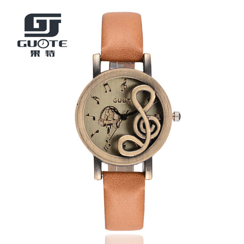 Guote Leather Quartz Stainless Steel Quartz Wristwatches Women G7081