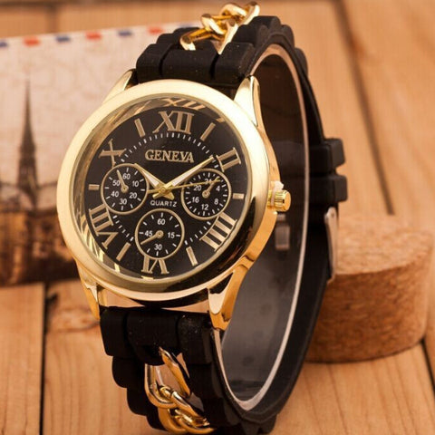Guote Rubber Quartz Alloy Quartz Wristwatches Women Geneva