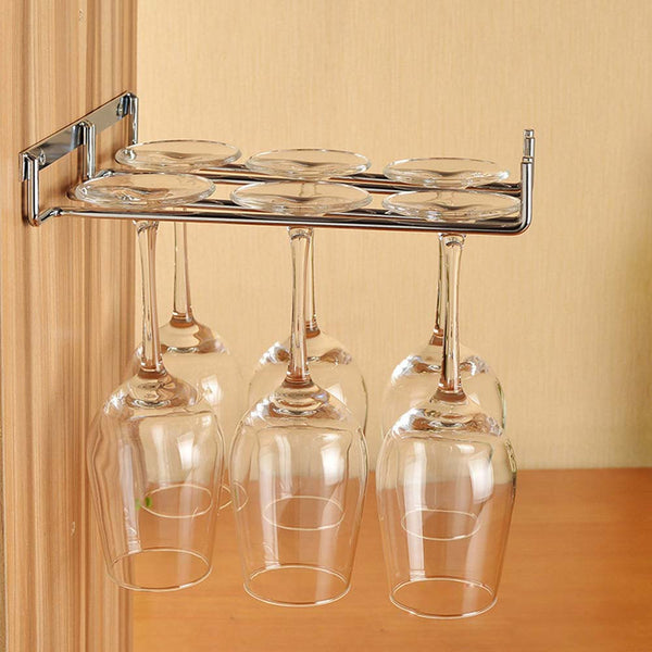 Hanging Metal Wine Cup Rack Silver Gold Bar Single Double Rack Wine Stemware Glass Bottle Goblet Inverted Holder KC0026