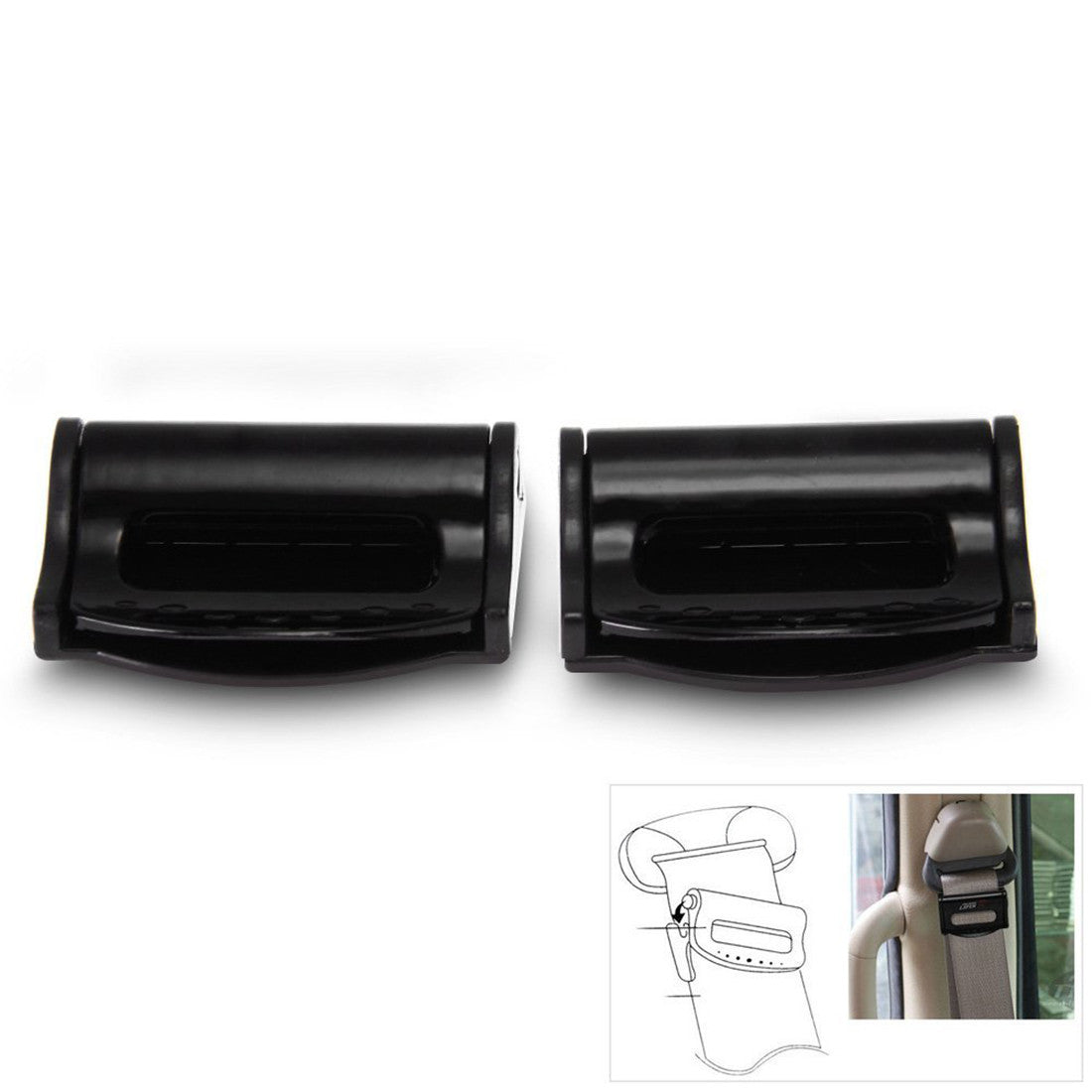 High Quality Universal Pair Safety Plastic Car Auto Seat Belt Seatbelt Clip Stopper Buckle Black Free Shipping