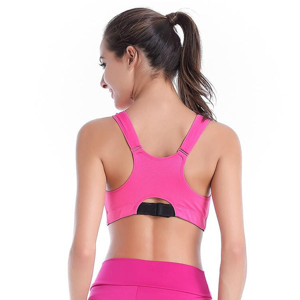 High Quality Women Sports Bra Running Fitness Yoga Top Vest Breathable Quick Dry Flexible with Front Zipper and Adjustable Strap