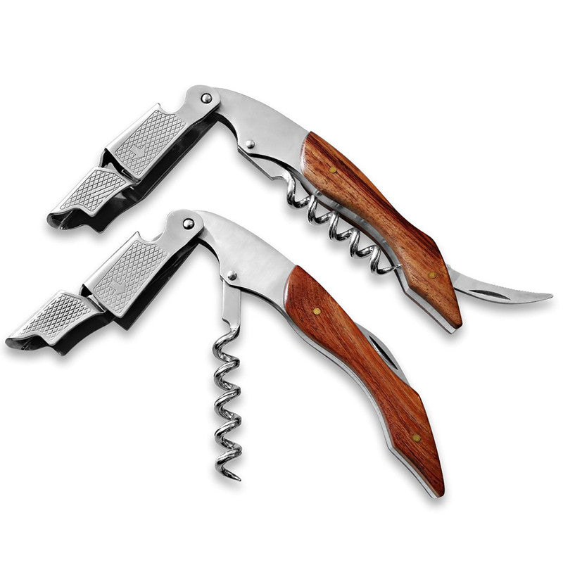 High Quality Wood Handle Professional Wine Opener Multifunction Portable Screw Corkscrew Wine Bottle Opener Cook Tools P41