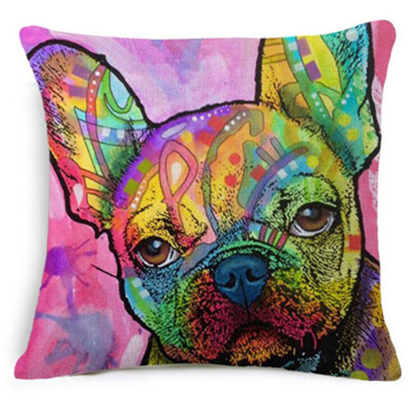 High Qualtity Cartoon Style Colorful Dog New Home Decorative Cushion Sofa Throw Pillow Square Cojines Cotton Linen Almofadas