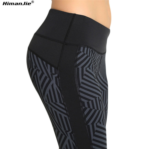 Himanjie 2016 Sports Pants Mid Waisted High elastic quick-drying Leggings for Professional Running Workout Fitness Yoga Pant
