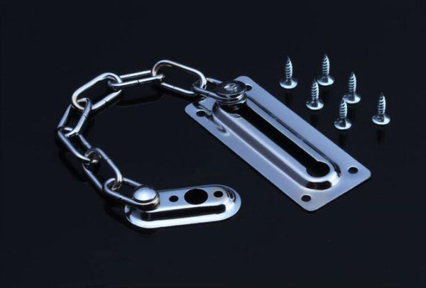 Home Safety Front Door Chain Security Guard Strong Steel Nickle Finish+Screws