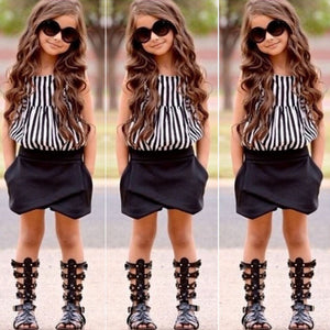 Hot 2017 Fashion Summer Kids Girls Clothes Set Striped Tops + Black Shorts 2pcs Sleeveless Suits Children Clothing Girls Outfits