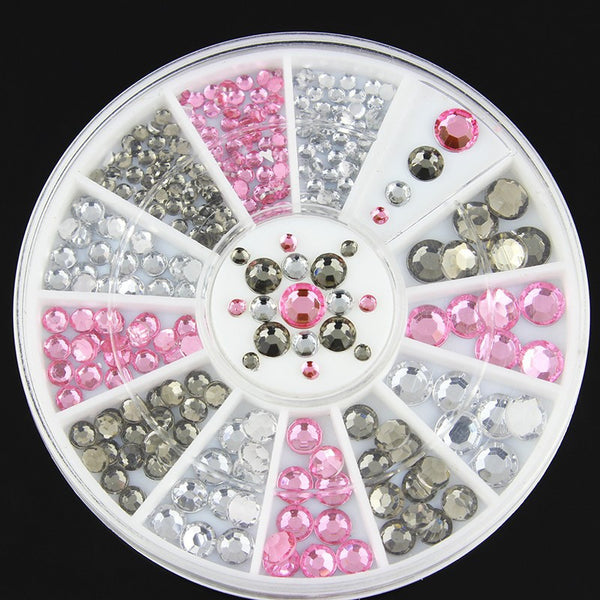 hot 3d Nail Glitter Rhinestone Pearls Wheel Gold Metal Studs DIY Beauty Nail Art Decorations