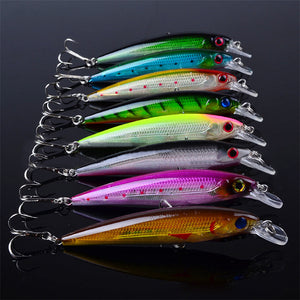 Hot New 1pack of 8pcs lot Hot sale 8pcs lot 11cm Minnow fishing lure Treble Hook tackle Artificial Hard bait fishing accessory