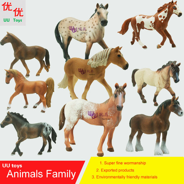 Hot toys: Horse family pack Simulation model Animals kids toys children educational props horse figure