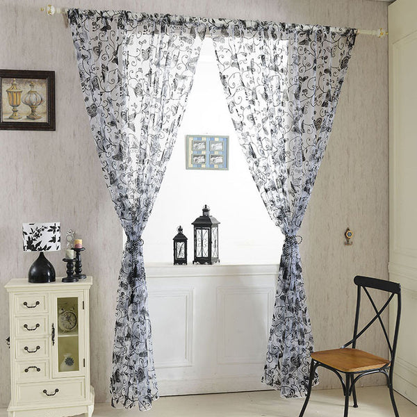 Hot Window Room Butterfly Voile Door Curtains Panel Divider Sheer Curtains 0.95cm*2M