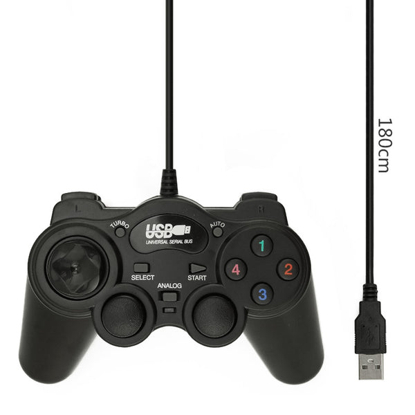 HOT Wired USB 2.0 Black Gamepad Joystick Joypad Gamepad Game Controller For PC Laptop Computer For Win7 8 10 XP For Vista