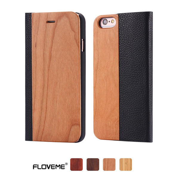 i6 6S Plus Bamboo Black Walnut Natural Wood Vintage Case For Apple iPhone 6 6S For iPhone 6 6S Plus Flip PU Leather Wallet Cover