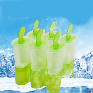 Ice Cream Cooking tools 6 Cell Ice Cream Tools Pop Mold Popsicle molds ice Maker Lolly Mould Tray Pan Kitchen DIY Freeshipping