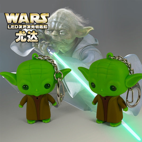 J206 Lovely New Arrival LED Star War Lightsaber Grandmaster Yoda Jedi Action Figure Toys With Sound Keychain Wholesale