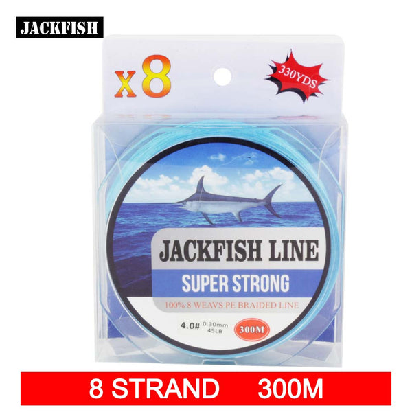 JACKFISH 300M 8 strand super strong PE Braided Fishing Line 10-80LB Multifilament Fishing Line Carp Fishing Saltwater