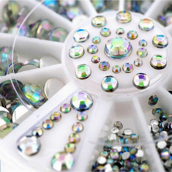 Japanese wheel nail art colorful AB acrylic rhinestone mix sizes round crystal stones