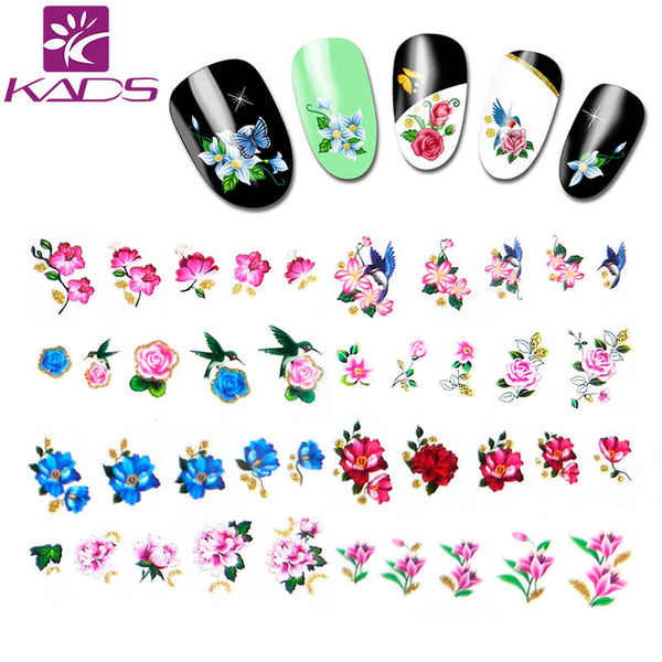 KADS LARGE 11sheet set BJC177-198 Water decal Nail Sticker Flower design nail sticker For nail accessories