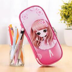 kawaii Lovely Girls School Pencil Case Large Capacity PU Leathe Pencil Bag Cases For kids Students Pen Sack Stationery Supplies