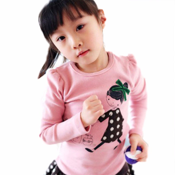 Kid Baby Clothes Girl Cotton Long SLeeve T-Shirt Pullover Tops 2-7Y