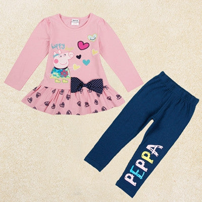 kids clothing girls set active children clothing sets autumn winter clothes printed cartoon pig long sleeve girls clothes FG5120