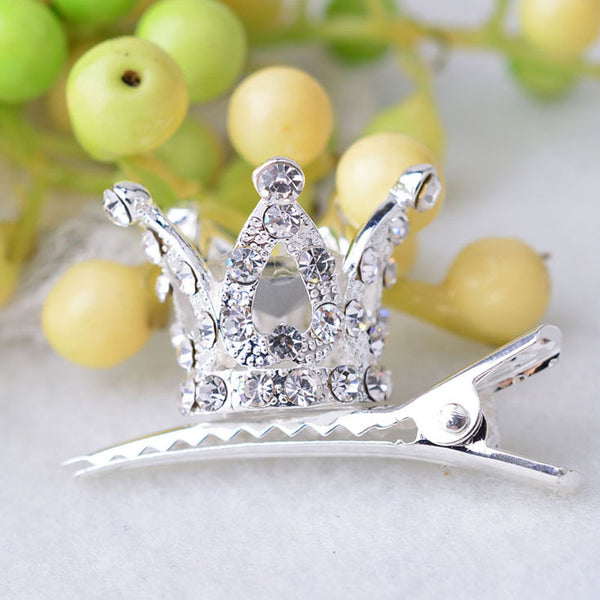 Kids Shiny Crystal Hair Clip 3D Crown Hairpin Princess Barrettes Headwear Hair Accessories